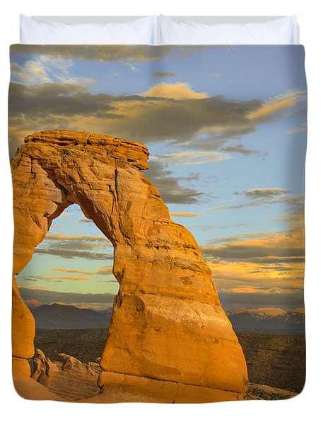 Delicate Arch At Sunset Duvet Cover by Adam Romanowicz