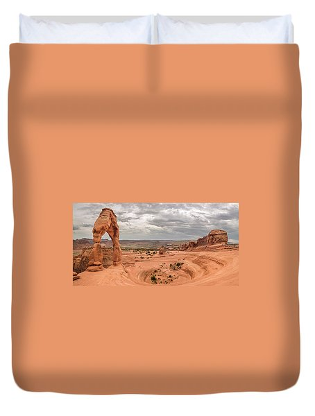 Delicate Arch Panoramic Duvet Cover by Adam Romanowicz