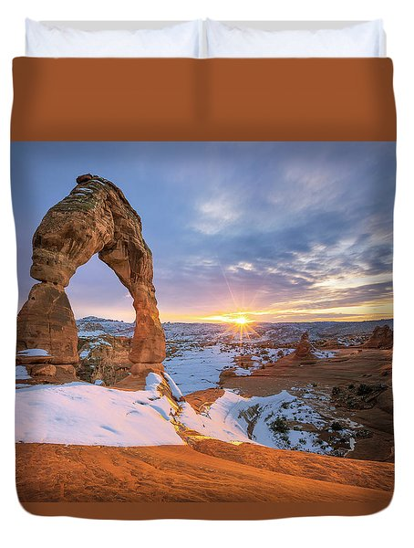 Delicate Arch Winter Duvet Cover