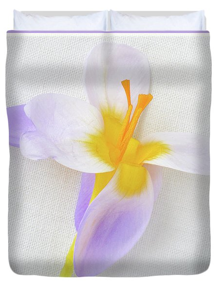 Duvet Cover featuring the photograph Delicate Art Of Crocus by Terence Davis