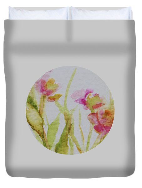 Duvet Cover featuring the painting Delicate Blossoms by Mary Wolf