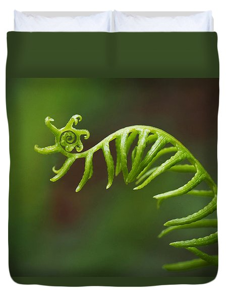 Duvet Cover featuring the photograph Delicate Fern Frond Spiral by Rona Black