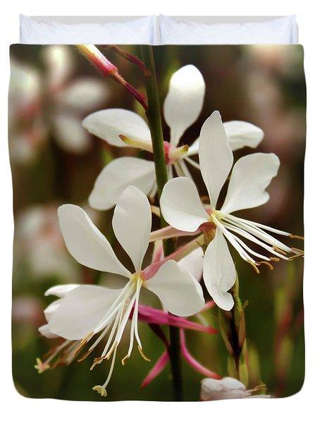 Delicate Gaura Flowers Duvet Cover