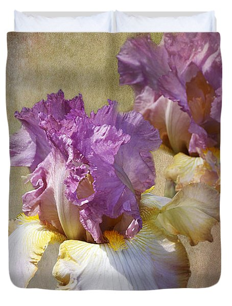 Delicate Gold And Lavender Iris Duvet Cover