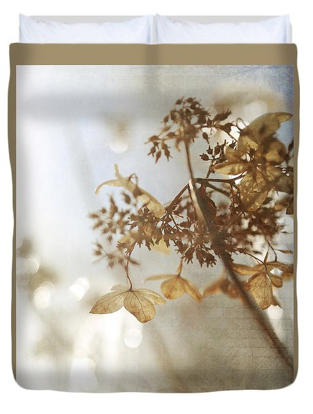 Duvet Cover featuring the photograph Delicate Hydrangea Blossoms In Earth Tones by Brooke T Ryan