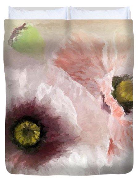 Delicate Pastel Poppies Duvet Cover