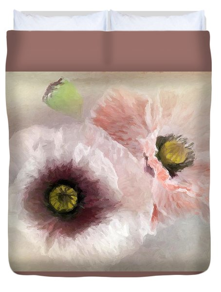 Delicate Pastel Poppies Duvet Cover