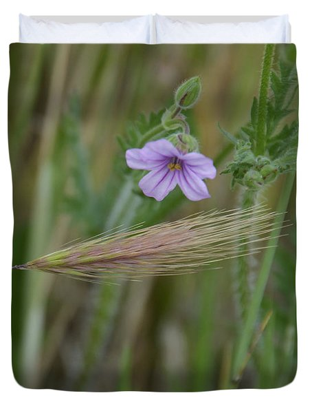 Delicate Purple Flowering Weed In The Grass Duvet Cover