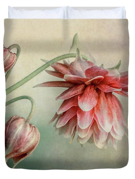 Delicate Red Columbine Duvet Cover