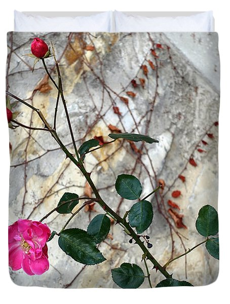 Delicate Rose In December Duvet Cover