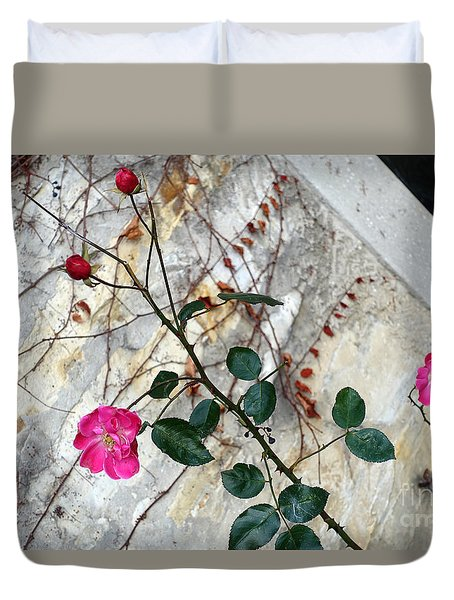 Delicate Rose In December Duvet Cover