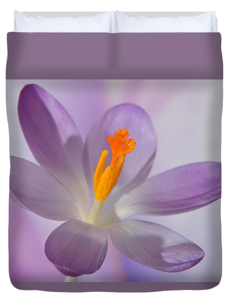 Delicate Spring Crocus. Duvet Cover by Terence Davis