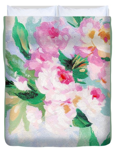 Duvet Cover featuring the mixed media Delicate by Writermore Arts