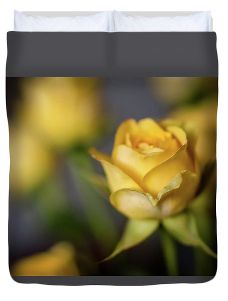 Delicate Yellow Rose  Duvet Cover by Terry DeLuco