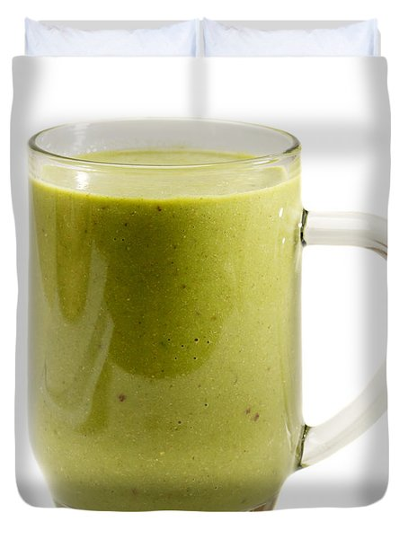 Delicious Kale Smoothie Isolated On White Duvet Cover
