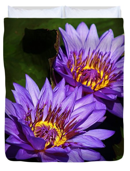 Duvet Cover featuring the photograph Delightful Violet Water Lilies by Bruce Bley