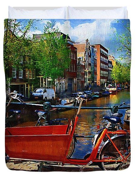 Delivery Bike Duvet Cover by Tom Reynen