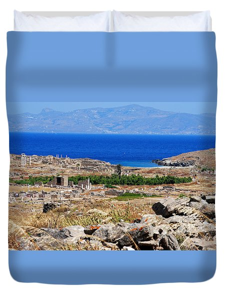 Duvet Cover featuring the photograph Delos Island View Of Agean by Robert Moss