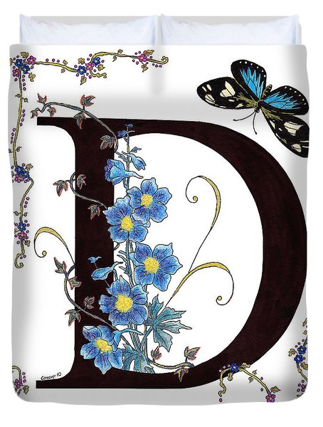 Delphinium And Doris Butterfly Duvet Cover by Stanza Widen