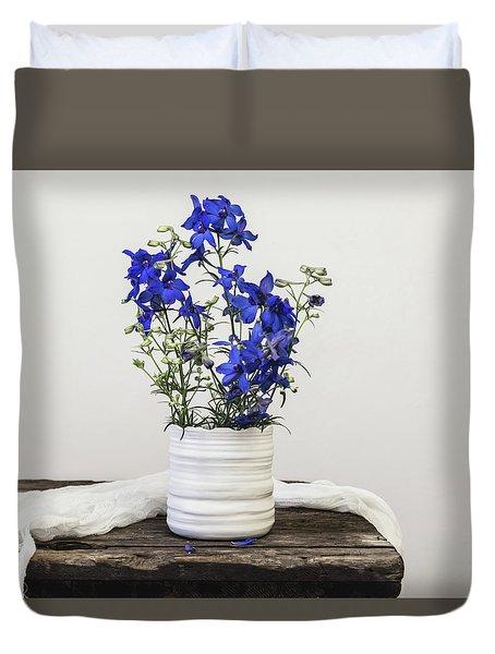 Duvet Cover featuring the photograph Delphinium Blue by Kim Hojnacki