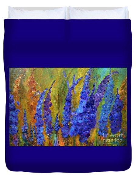 Delphiniums Duvet Cover