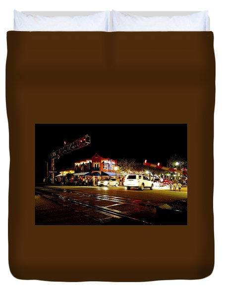 Delray Beach Railroad Crossing Duvet Cover