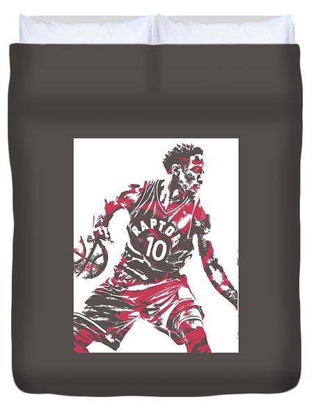 Demar Derozan Toronto Raptors Pixel Art 6 Duvet Cover