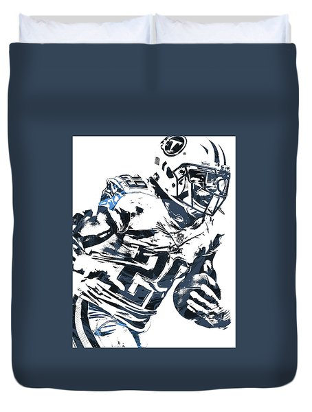 Duvet Cover featuring the mixed media Demarco Murray Tennessee Titans Pixel Art 2 by Joe Hamilton
