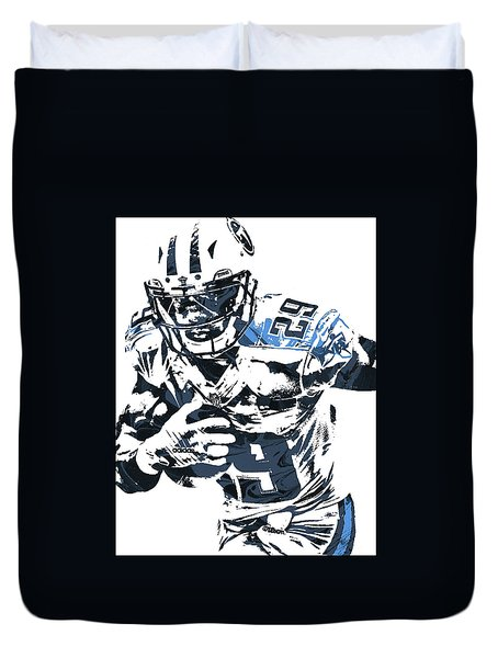 Duvet Cover featuring the mixed media Demarco Murray Tennessee Titans Pixel Art by Joe Hamilton
