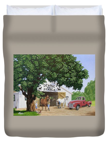 Deming Stables Duvet Cover