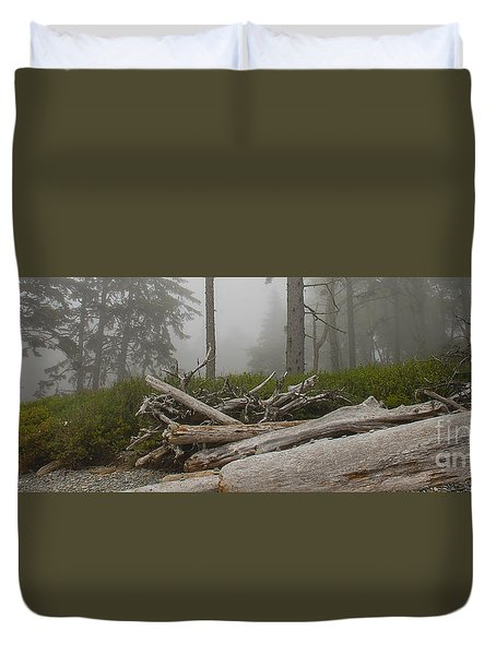 Ruby Beach In A Fog Duvet Cover