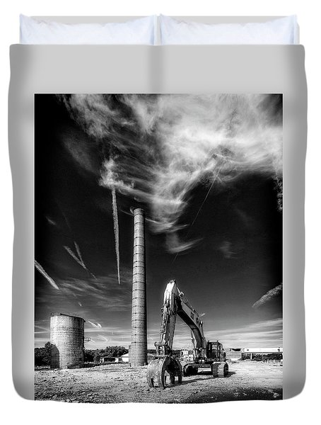 Duvet Cover featuring the photograph Demolition Sky by Alan Raasch
