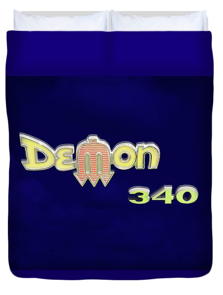 Duvet Cover featuring the photograph Demon 340 Emblem by Mike McGlothlen