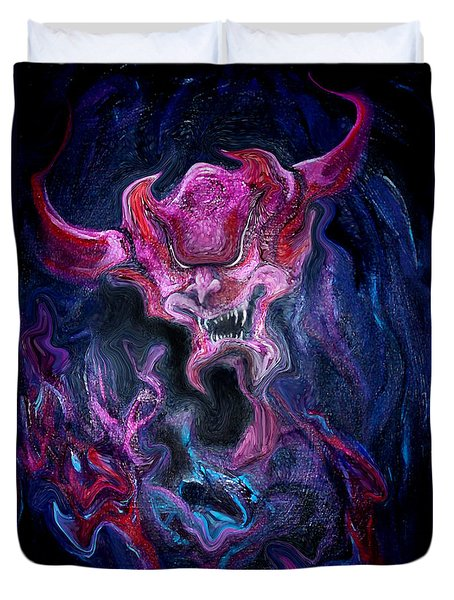 Duvet Cover featuring the painting Demon Fire by Kevin Middleton