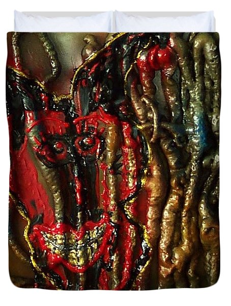 Duvet Cover featuring the painting Demon Inside by Lisa Piper