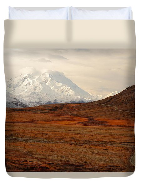 Denali And Tundra In Autumn Duvet Cover