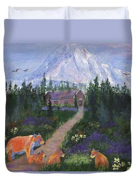 Duvet Cover featuring the painting Denali by Jamie Frier