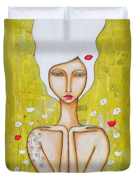 Duvet Cover featuring the mixed media Denham by Natalie Briney