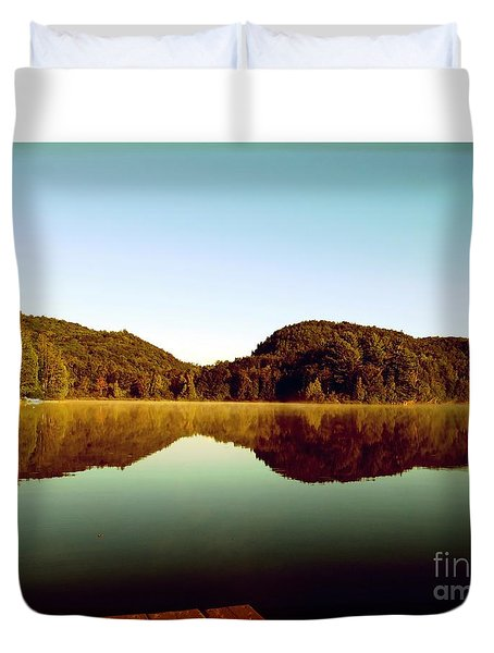 Duvet Cover featuring the photograph Denholm Lake by France Laliberte