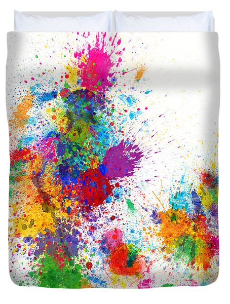 Denmark Map Paint Splashes Duvet Cover