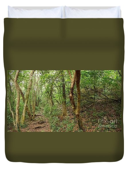 Dense Green Forest With A Rugged Trail Duvet Cover