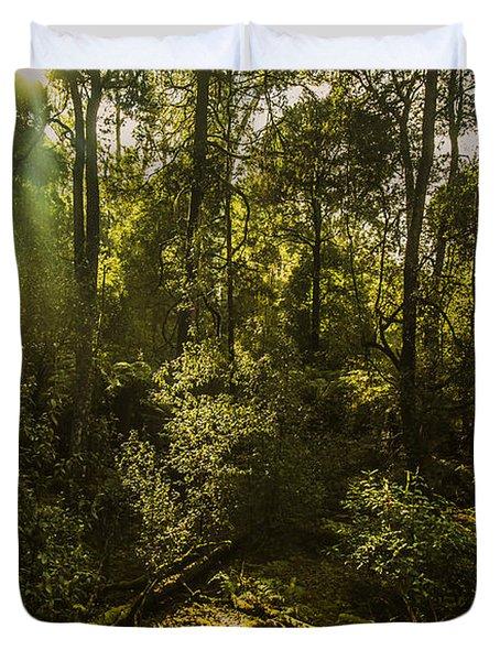 Dense Green Tropical Forest Duvet Cover