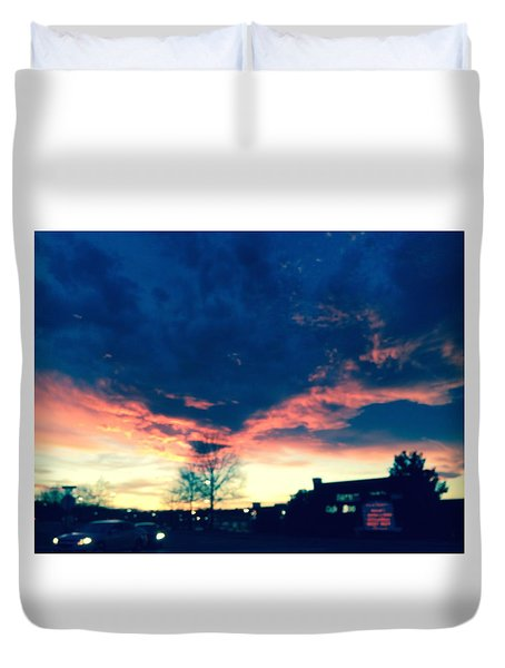 Duvet Cover featuring the painting Dense Sunset by Angela Annas