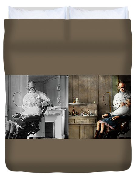 Duvet Cover featuring the photograph Dentist - Good Oral Hygiene 1918 - Side By Side by Mike Savad