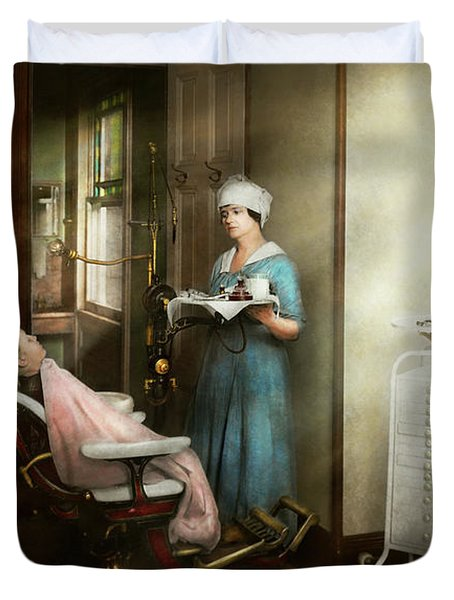 Duvet Cover featuring the photograph Dentist - Patients Is A Virtue 1920 by Mike Savad