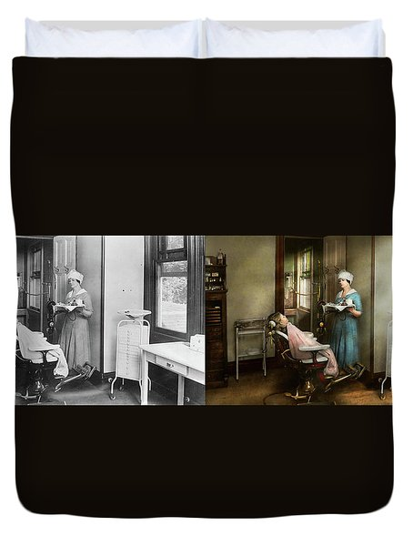Duvet Cover featuring the photograph Dentist - Patients Is A Virtue 1920 - Side By Side by Mike Savad