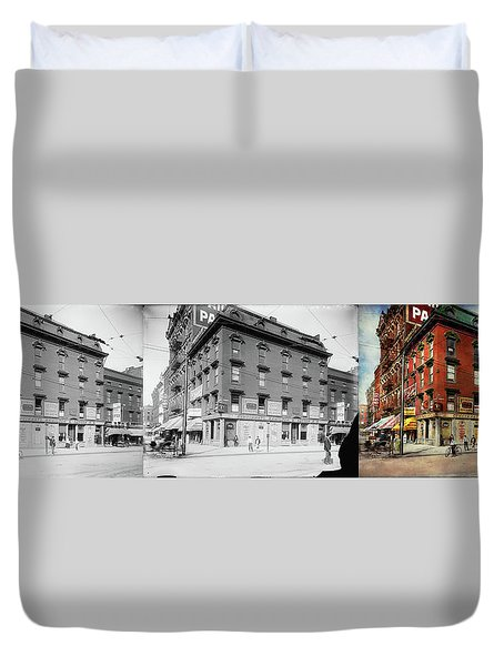Duvet Cover featuring the photograph Dentist - Peerless Painless Dental Parlors 1910 - Side By Side by Mike Savad