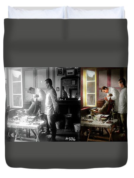 Duvet Cover featuring the photograph Dentist - The Horrors Of War 1917 - Side By Side by Mike Savad
