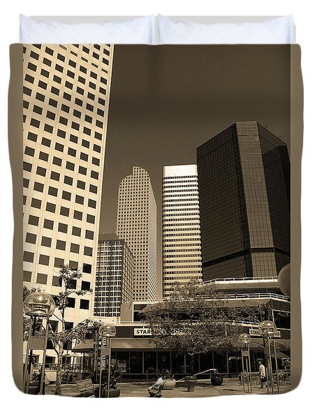 Duvet Cover featuring the photograph Denver Architecture Sepia by Frank Romeo