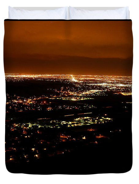 Denver Area At Night From Lookout Mountain Duvet Cover